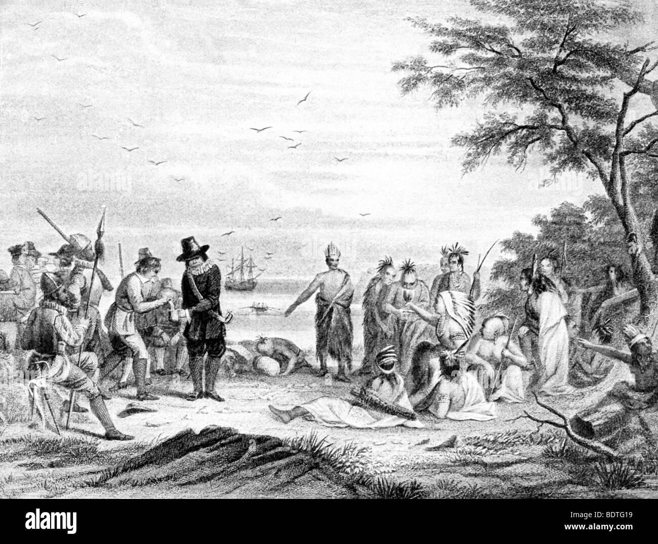 Diese Illustration amerikanische bildliche Historiker Captain Seth Eastman zeigt die Landung der Pilger in Plymouth Stockbild
