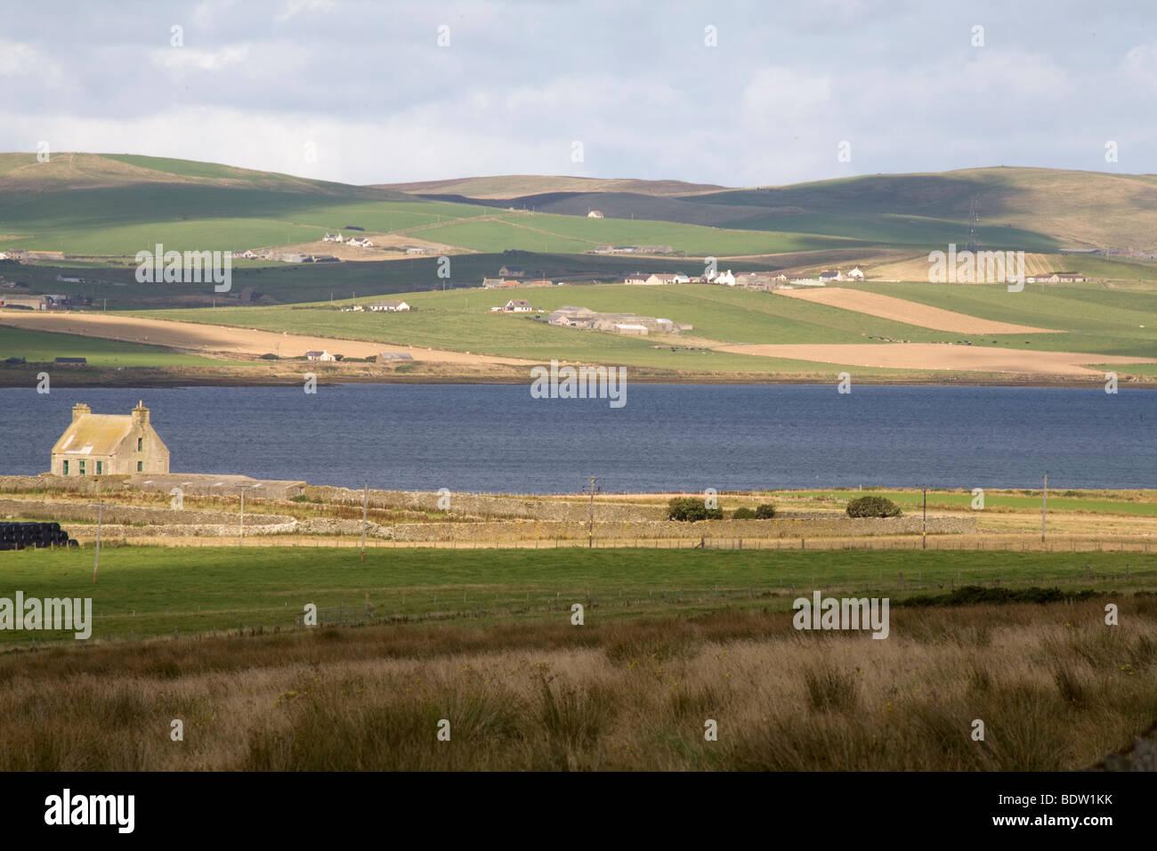 Landeschaft Auf der Insel Mainland der Orkney-Inseln, Küstenlandschaft von Mainland, Orkney Inseln, Schottland, Stockbild