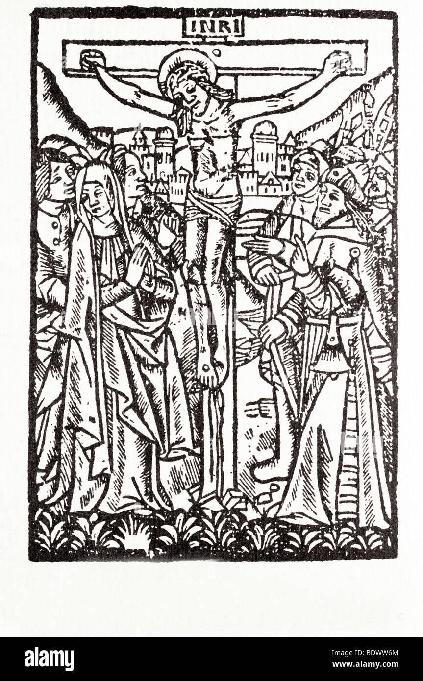 w de Worde 1525 fromme Intercescion der Kreuzigung Johannes Maria ihren Kopf drehte sich nach links zwei Marys Jesus Stockbild