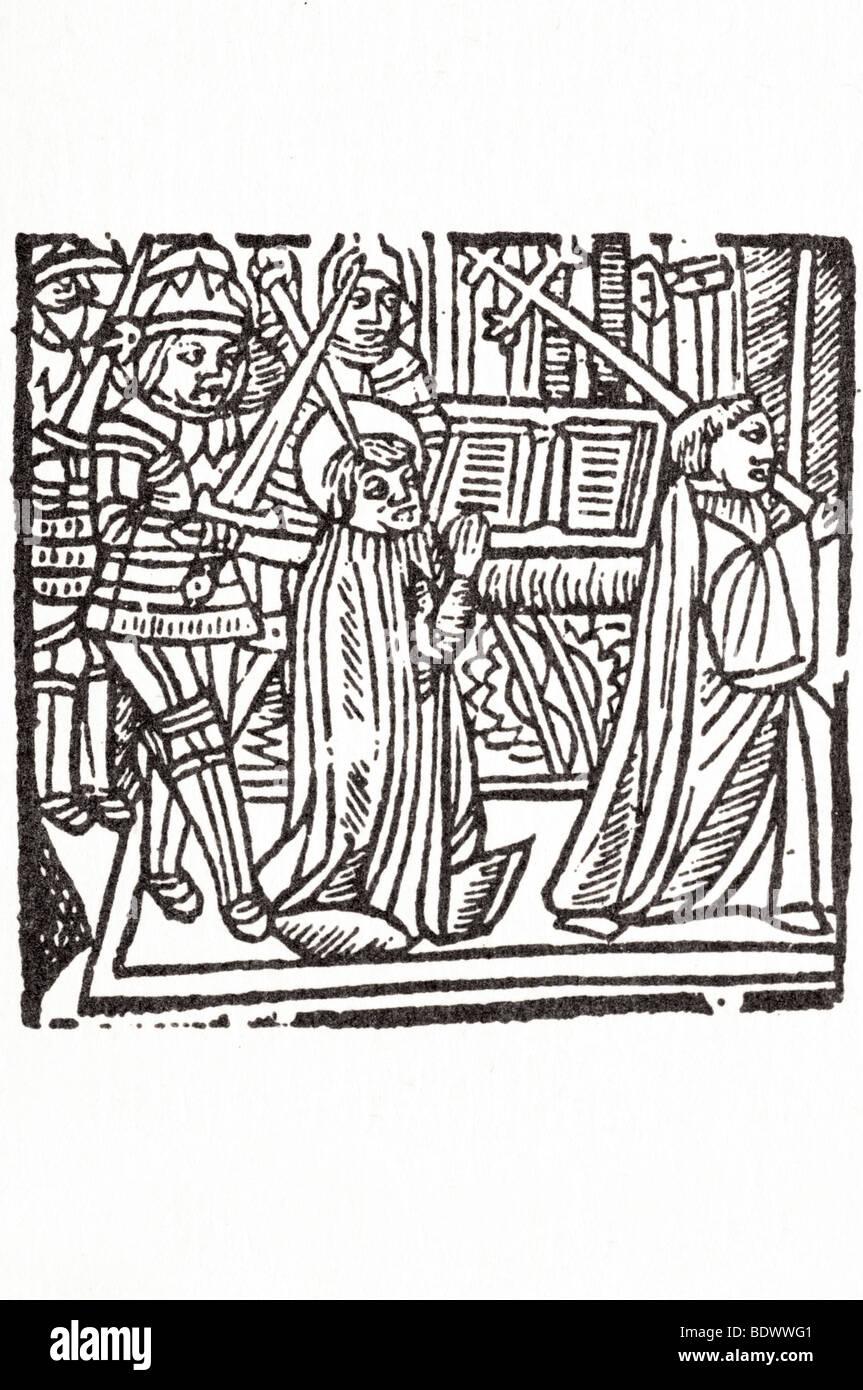 R Pynson 1528 5 Dezember mirk Johannes Festival das Martyrium des Hl. Thomas von Canterbury Fett Soldat in Rüstung Stockbild