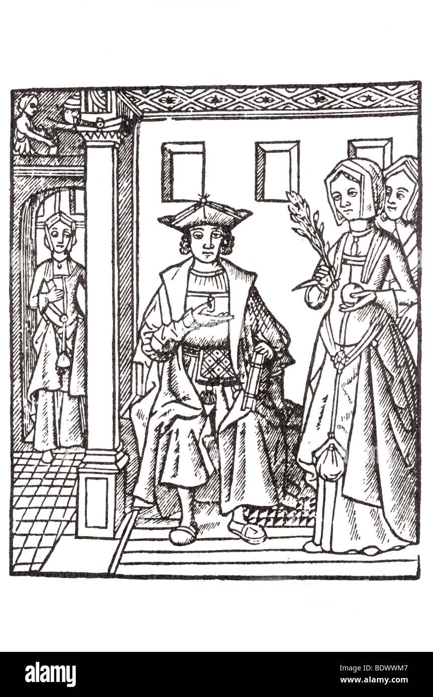 R Pynson 1528 la Conusaunce Damours eine Frau in einer Tür eine kleine Figur Fliesenboden in einem anderen Stockbild