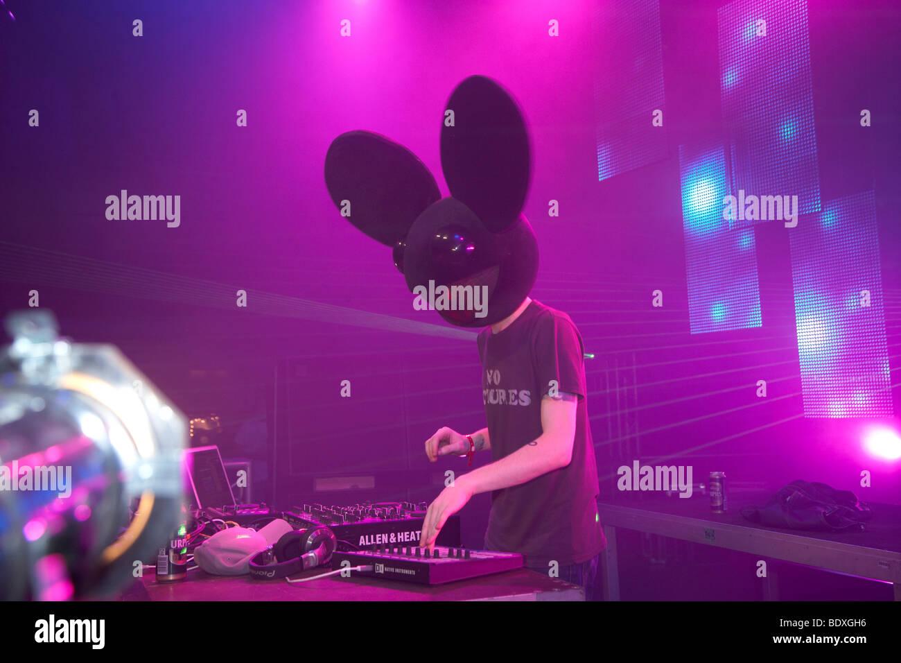 Techno-Natur ein Festival 2009, DJ Deadmau5, Kastellaun, Rheinland-Pfalz, Deutschland, Europa Stockbild