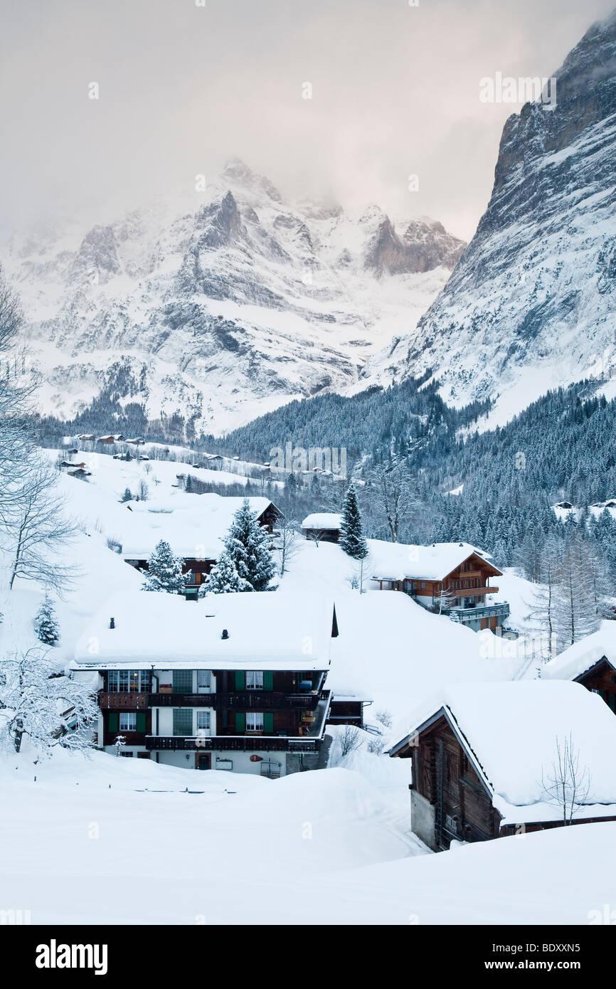 Grindelwald, Wetterhorn Berg, Jungfrau Region, Berner Oberland, Schweizer Alpen, Schweiz Stockbild