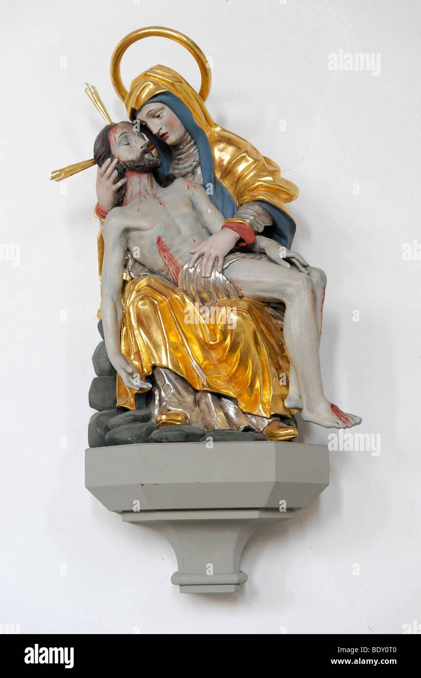 Detail, Pfarrkirche St. Peter und Paul, Oberstaufen, Allgäu, Bayern, Deutschland, Europa Stockbild