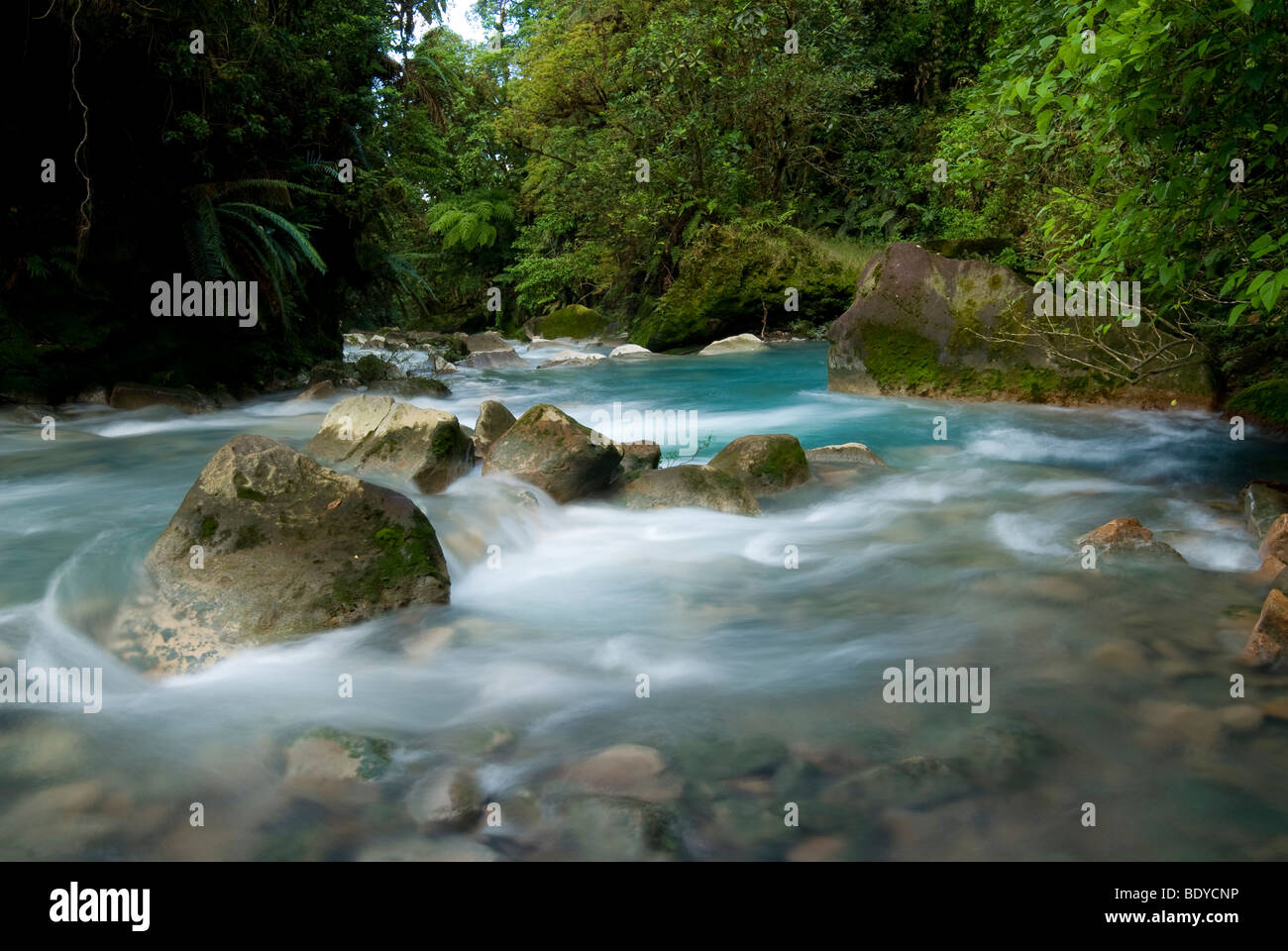 Stromschnellen in Rio Celeste, Tenorio Vulkan-Nationalpark, Costa Rica. Stockbild