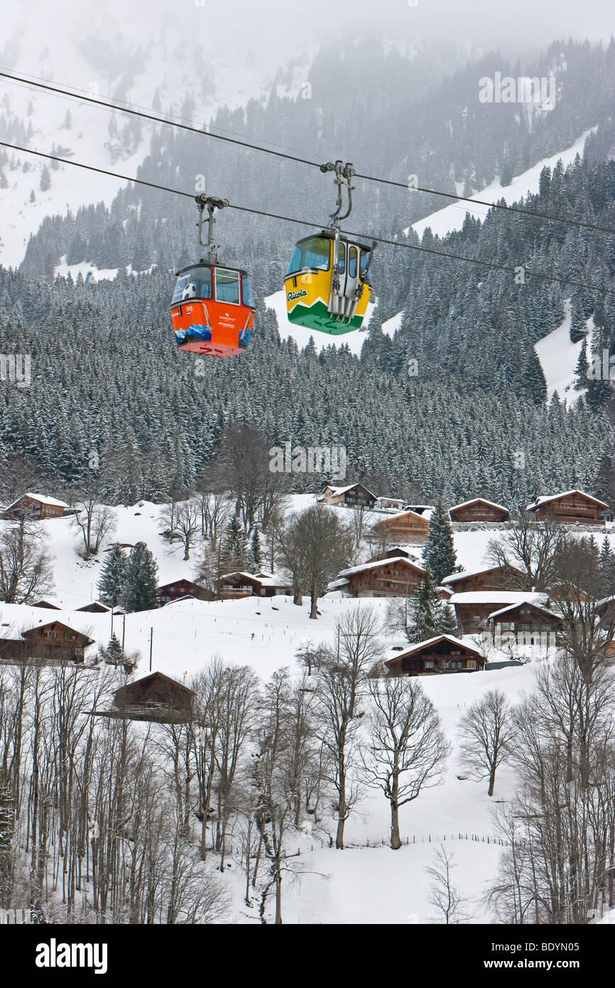 Bunten Grindelwald Grund Gondel Skilift, Grindelwald, Jungfrau Region, Berner Oberland, Schweizer Alpen, Schweiz Stockbild