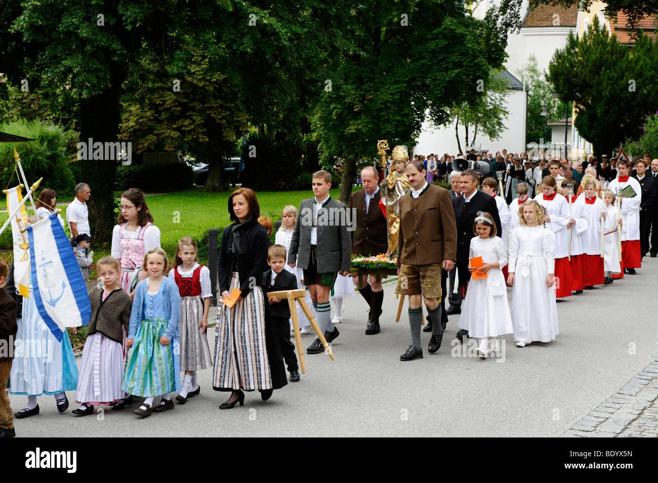 Kiliansfest, fest des St. Kilian, Bad Heilbrunn, Loisachtal, Tölz Region, Oberbayern, Deutschland, Europa Stockbild
