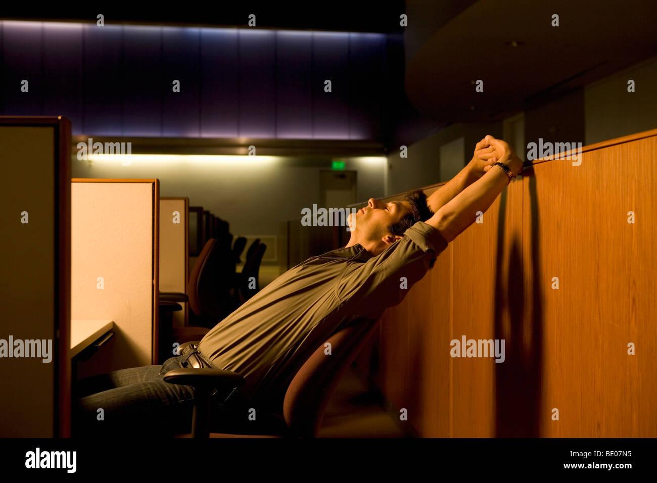 Überstunden im Büro Stockfoto