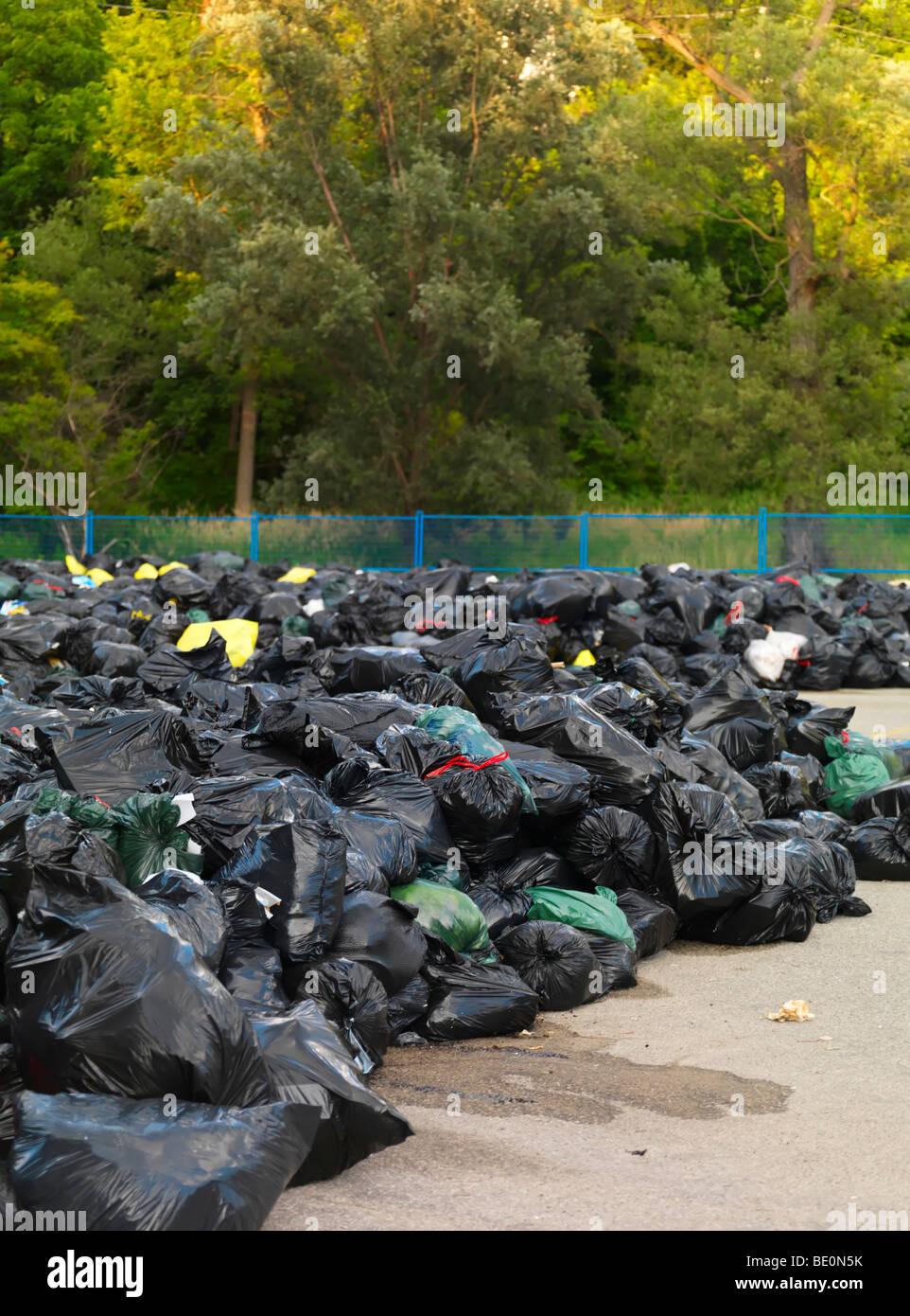 Müllhalde in einem park Stockbild