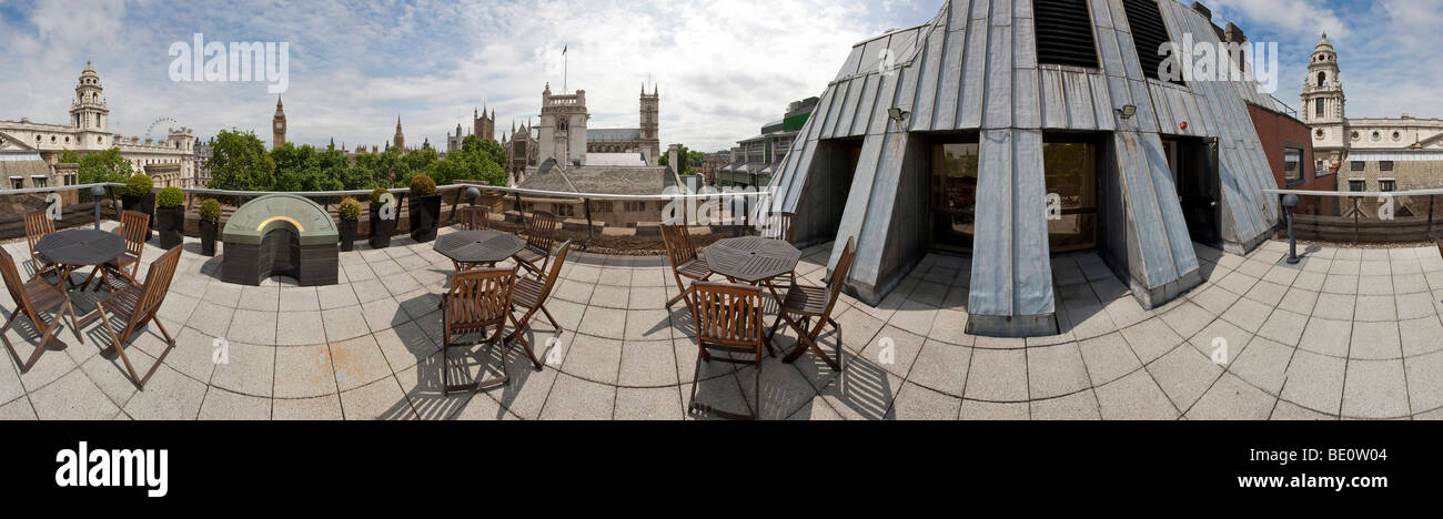 Dach-Terrasse-Panorama an der Royal Institution of Chartered Vermesser Headquarters in Westminster, London. Stockbild