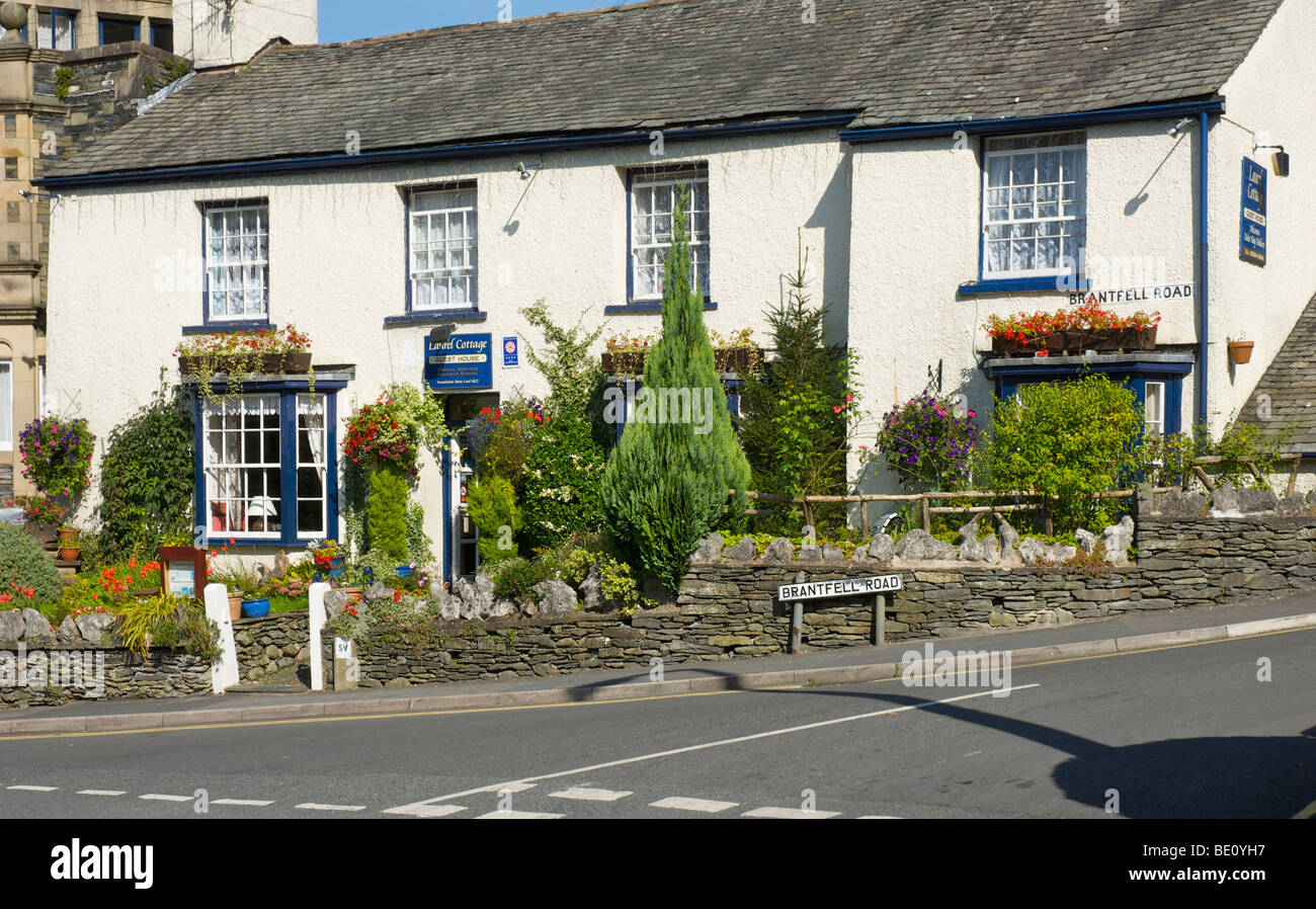 Laurel Cottage Gästehaus auf Brantfell Straße, Bowness-on-Windermere, Lake District National Park, Cumbria, Stockbild
