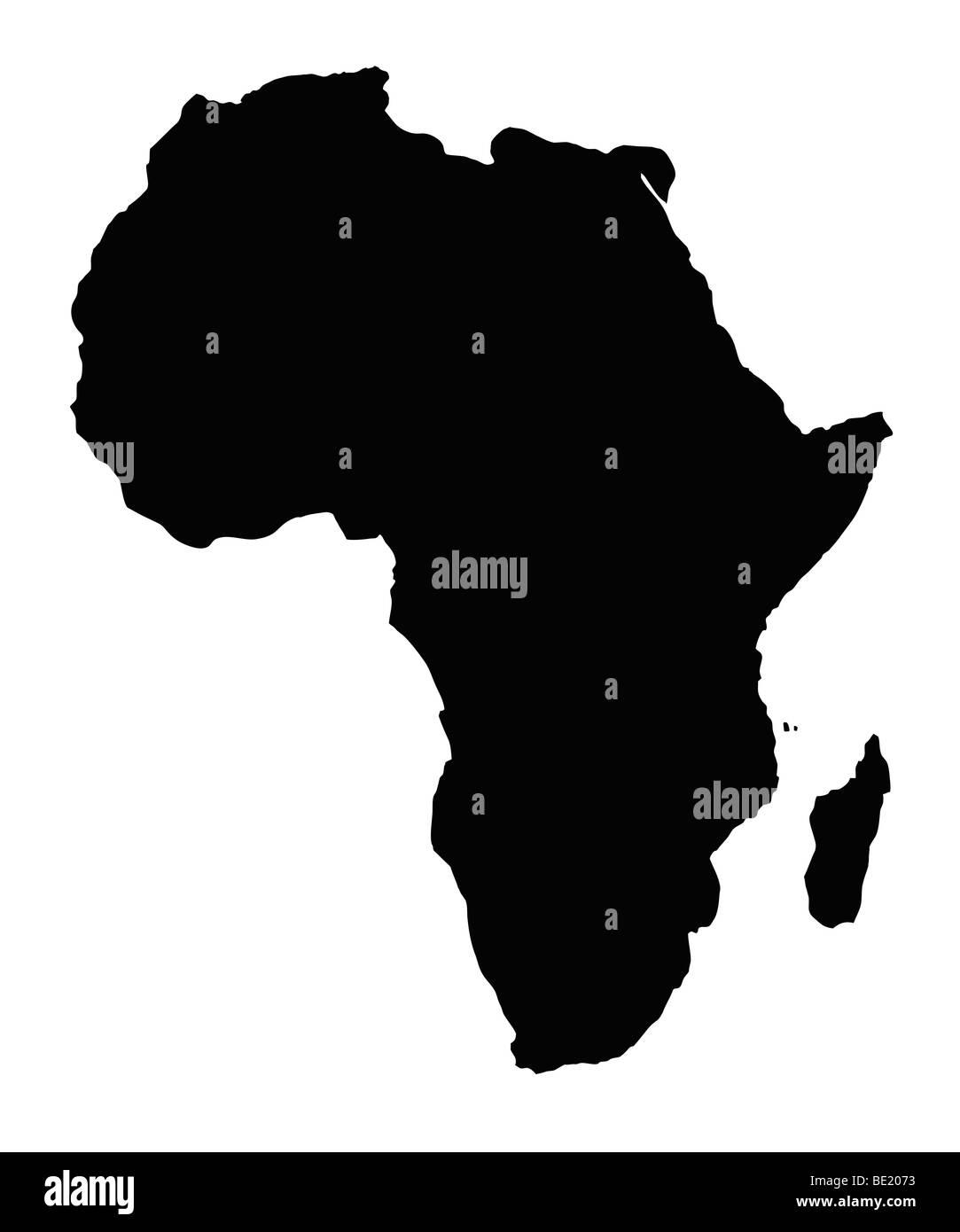 Karte des afrikanischen Kontinents, isoliert auf weißem Hintergrund. Stockbild