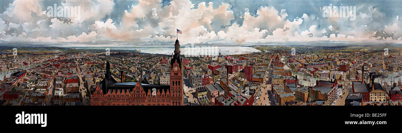 Panoramablick von Milwaukee, Wisconsin entnommen Rathausturm ca. 1898 Stockbild