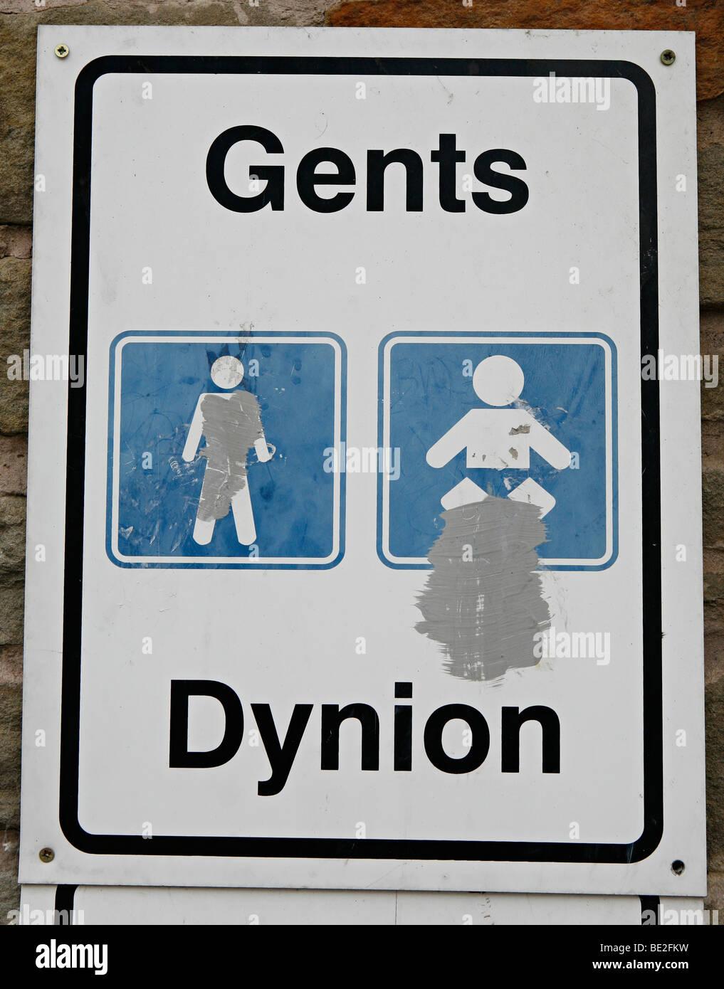Eine Toilette Anmelden Englisch Und Walisisch Stockfoto Bild