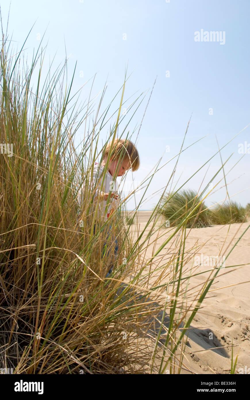 ein Kleinkind spielt unter Rasen auf einer Sanddüne Stockbild