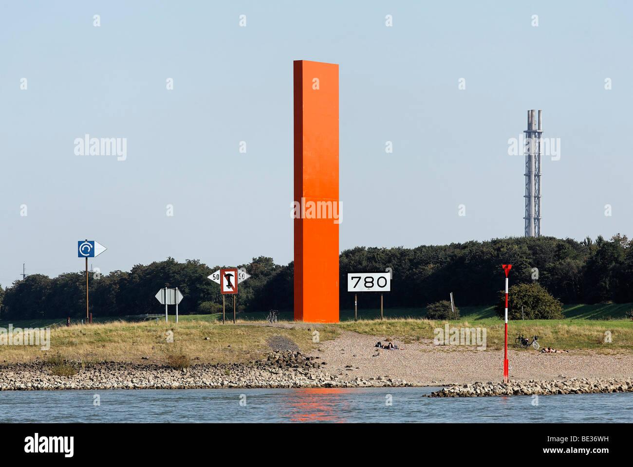 Rheinorange Wahrzeichen von Lutz Frisch, Ruhrort Duisburg, Nordrhein-Westfalen, Deutschland, Europa Stockbild