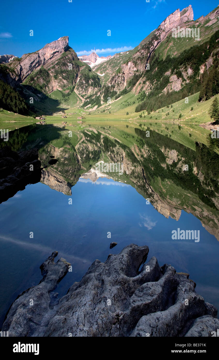 Wasser Spiegelung auf Seealpsee See im Alpstein, Appenzell Region, Schweizer Alpen, Schweiz, Europa Stockbild