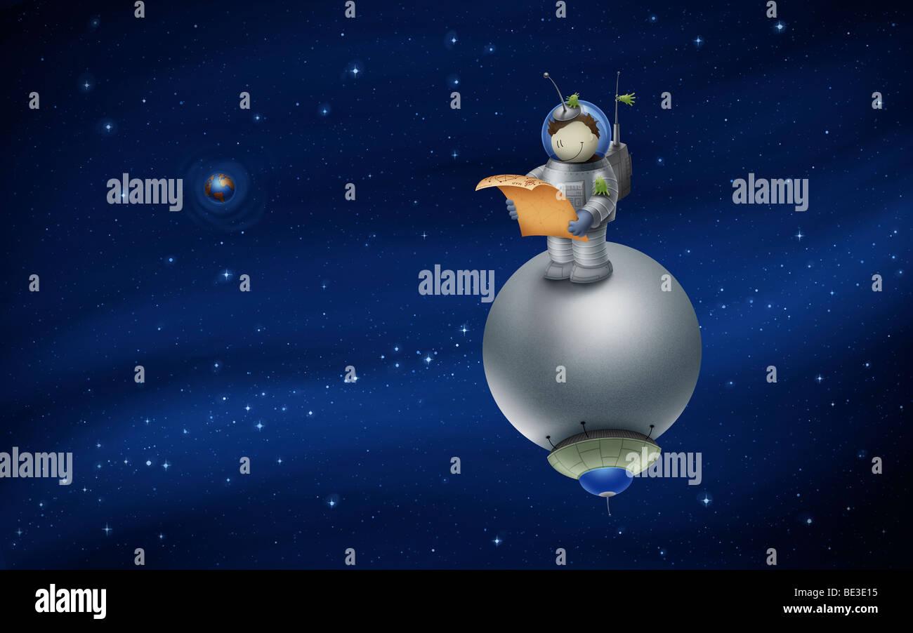 Abbildung einer Cartoon-Astronauten in den Weltraum. Stockbild