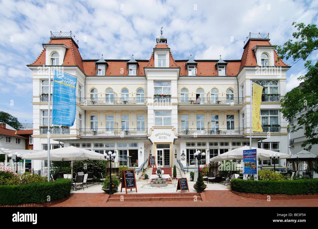 Romantik Hotel Esplanade, Spa-Stil-Architektur, Seebad Heringsdorf, Insel Usedom, Mecklenburg-Vorpommern, Deutschland Stockbild