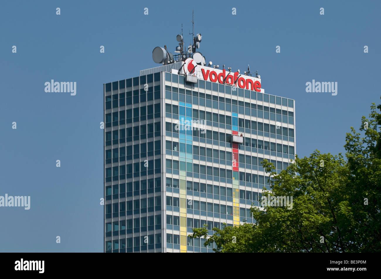 Vodafone-Haus in Düsseldorf, Antennen, Nordrhein-Westfalen, Deutschland, Europa Stockbild