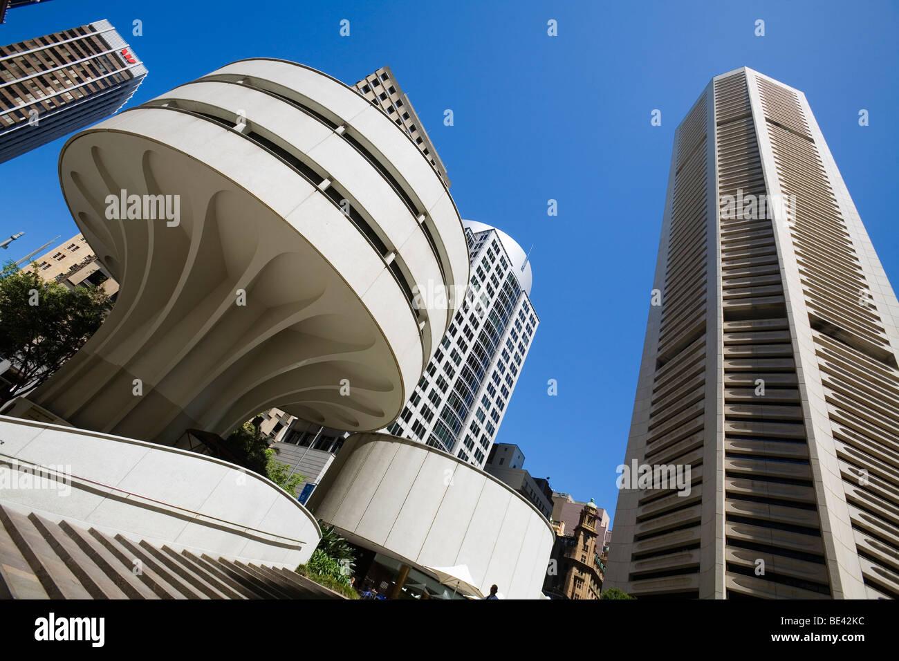 Moderne Architektur des MLC-Centers am 19 Martin Place in der Innenstadt. Sydney, New South Wales, Australien Stockbild