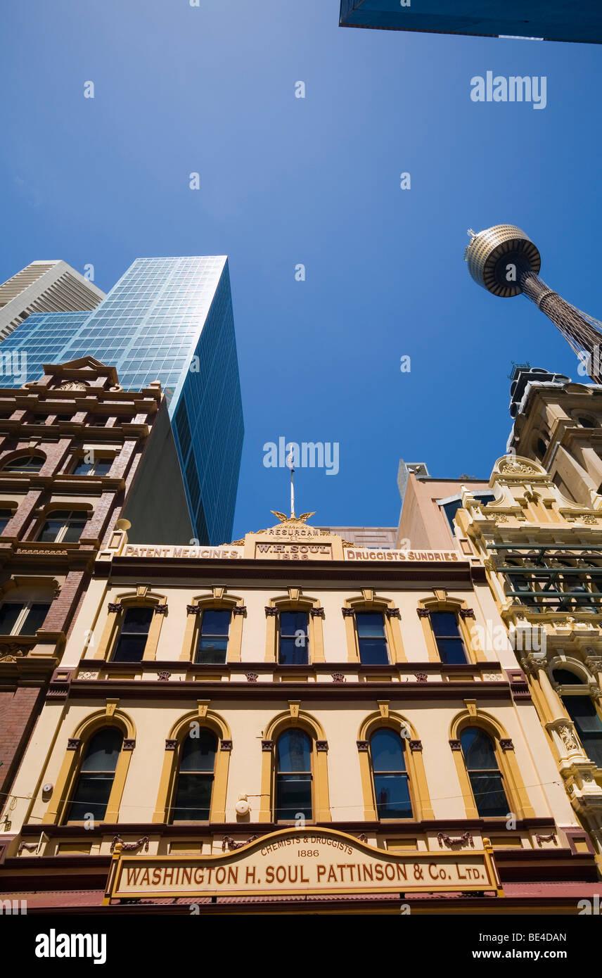 Historische Architektur in der Pitt Street Mall.  Sydney, New South Wales, Australien Stockbild