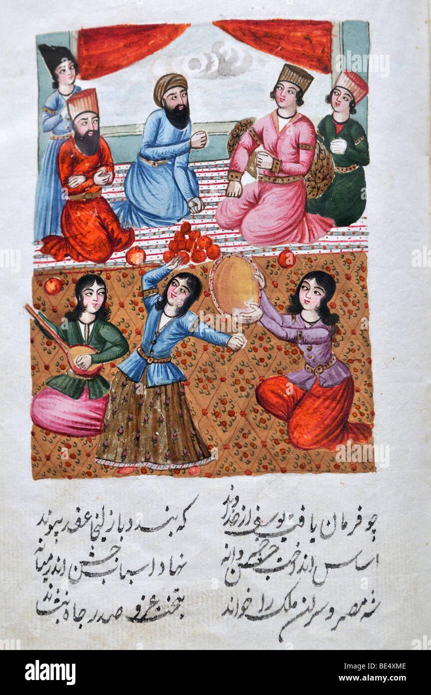 Historischen persischen handgemalte Manuskript, Buchseite, Matenadaran Museum, Yerevan, Jerwan, Armenien, Asien Stockbild
