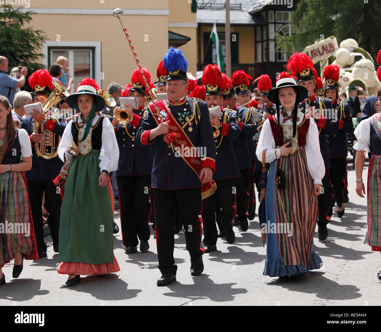 Feuerwehr-Band Strassen, Narzissenfest Narcissus-Festival in Bad Aussee, Ausseer Land, Salzkammergut-Region, Steiermark, Stockbild