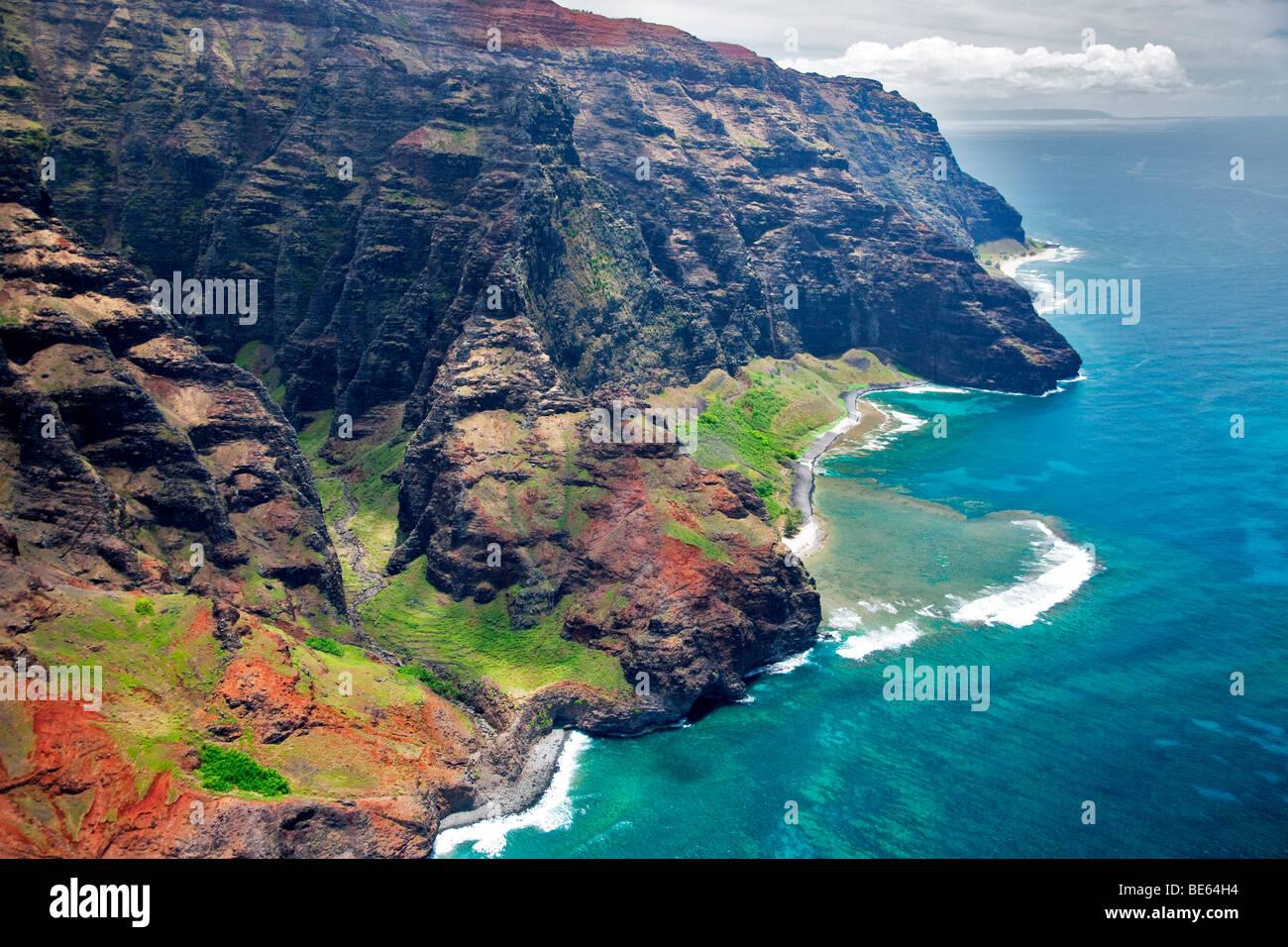 Na Pali Küste aus der Luft. Kauai, Hawaii. Stockbild