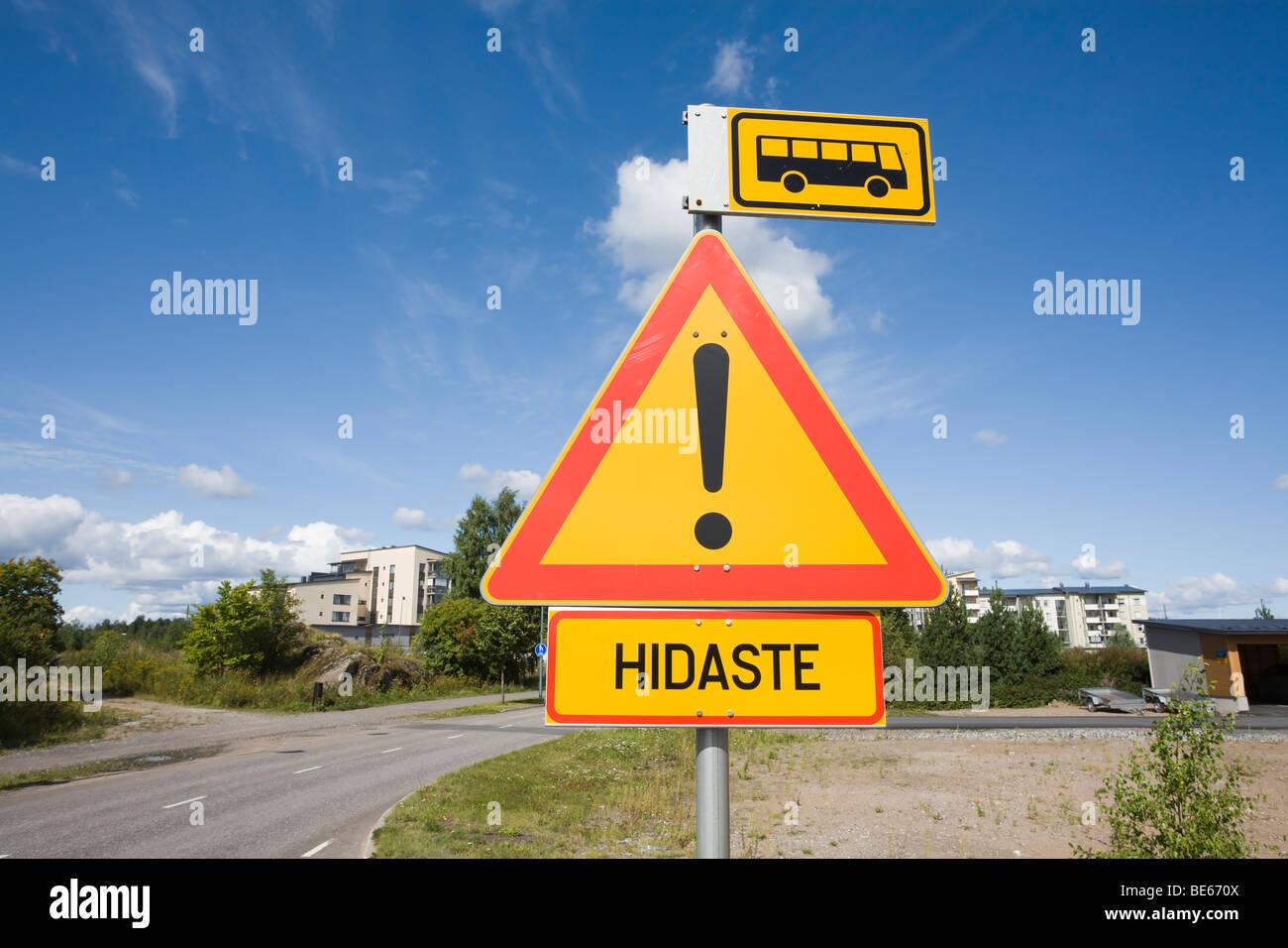 Verkehrszeichen Finnland Stockbild