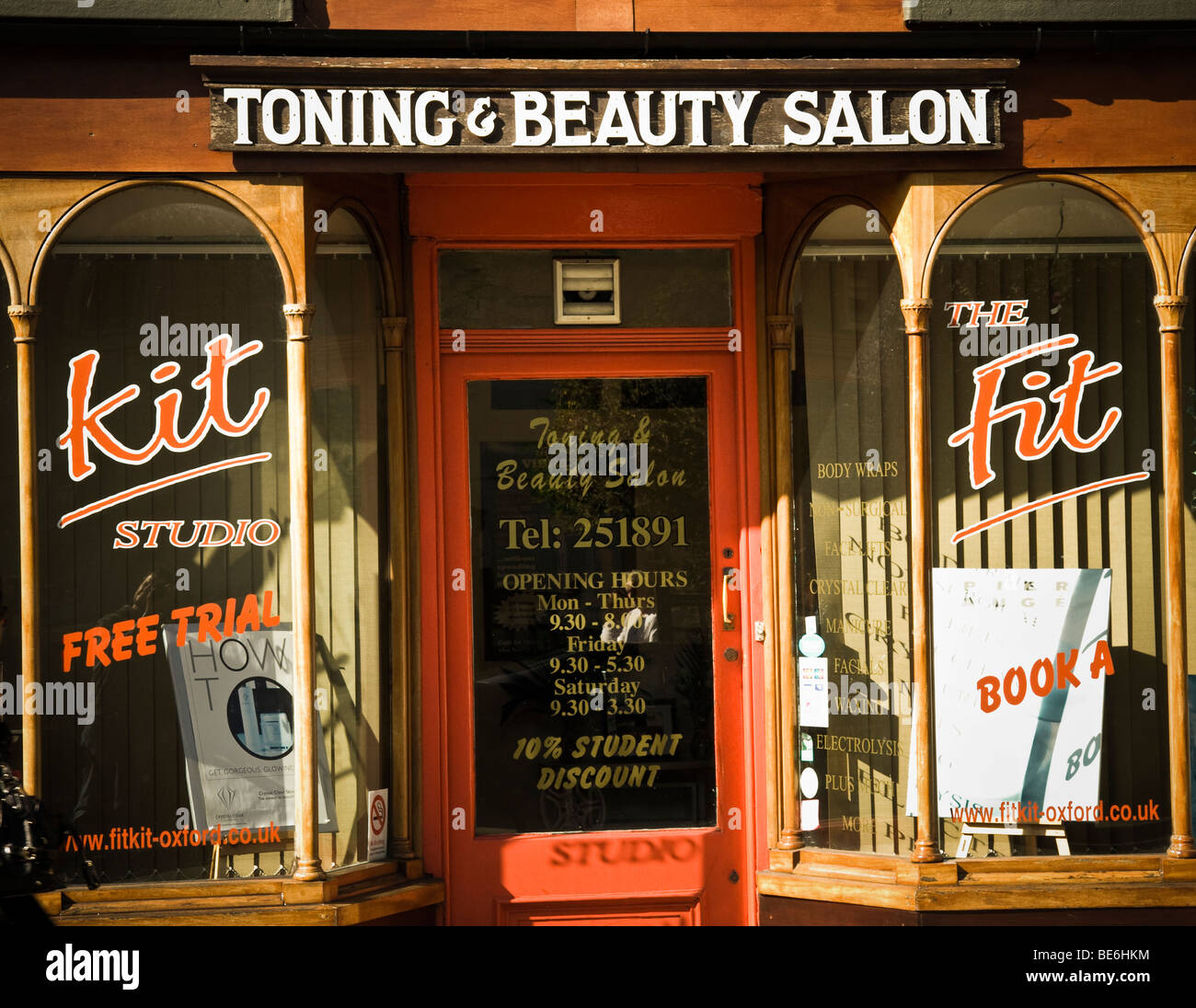 Ein Muskelaufbau und Beauty-salon Stockbild