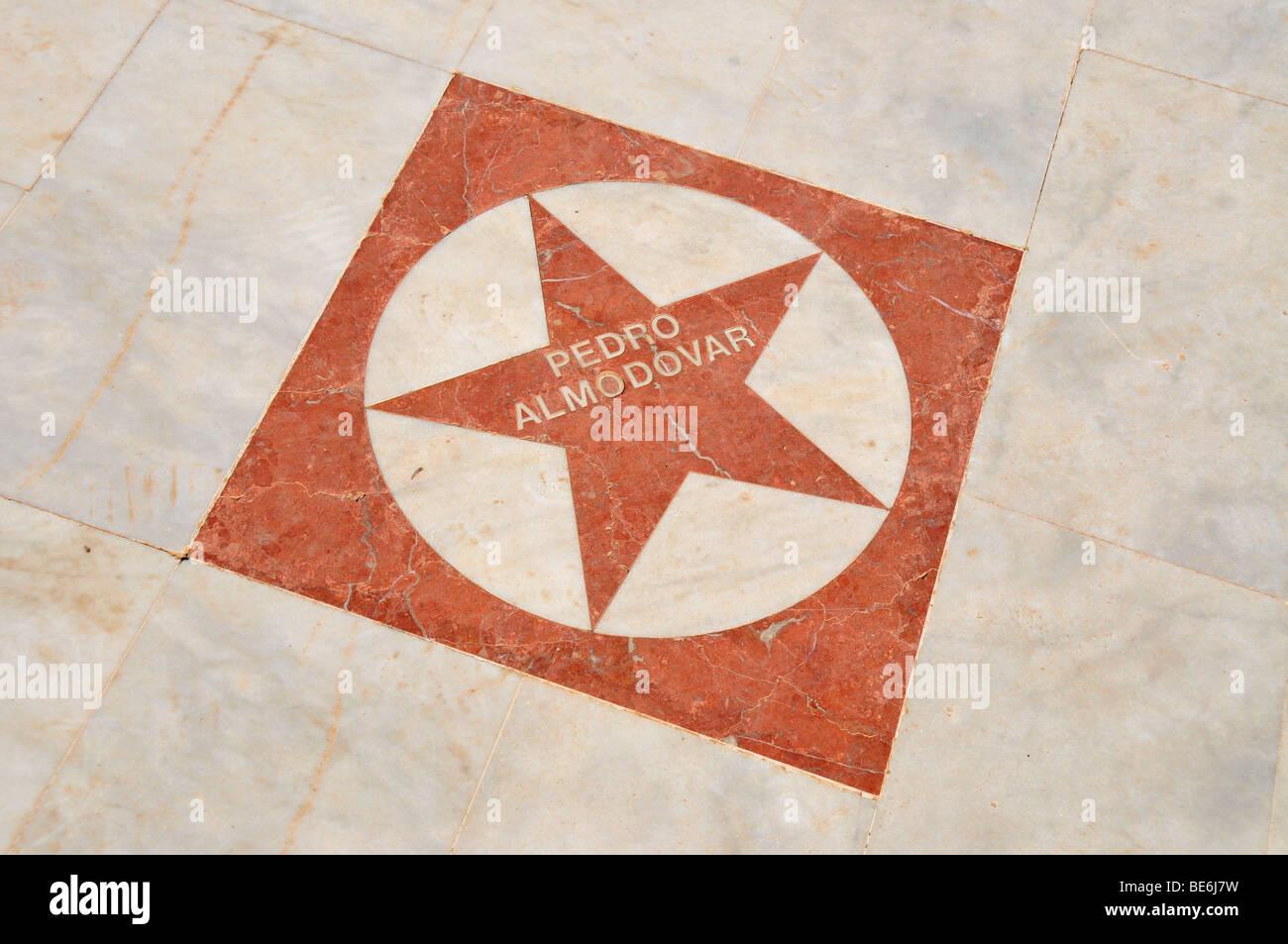 Stern von Pedro Almodóvar auf dem Walk of Fame an der Uferpromenade der Stadt Strand Playa de Albir, Albir, Stockbild