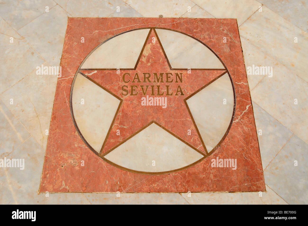 Stern von Carmen Sevilla auf dem Walk of Fame an der Uferpromenade der Stadt Strand Playa de Albir, Albir, Alfaz Stockbild