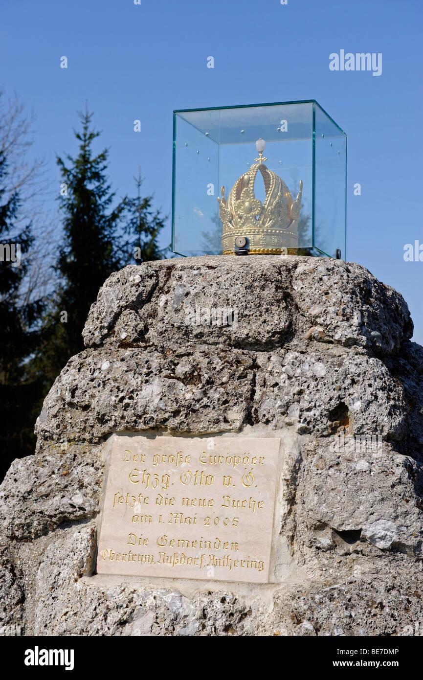 """Aussichtspunkt """"Kaiserbuche"""" Kaiser Buche, am Hochberg in der Nähe von Nußdorf, Salzburger Land, Stockbild"""