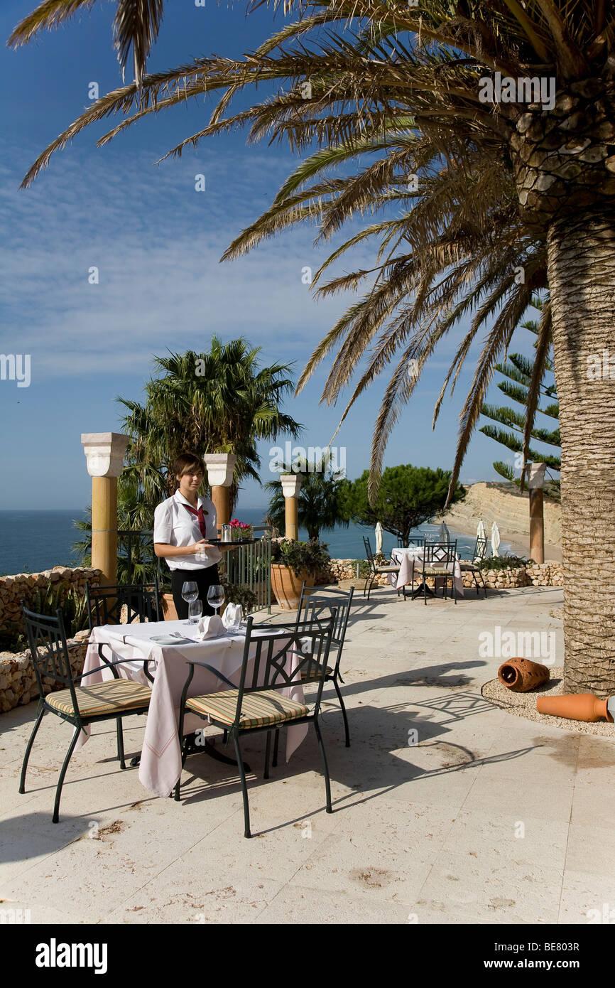 Terrasse mit Meer Blick, Romantik Hotel Vivenda Miranda, Lagos, Algarve, Portugal, Europa Stockbild