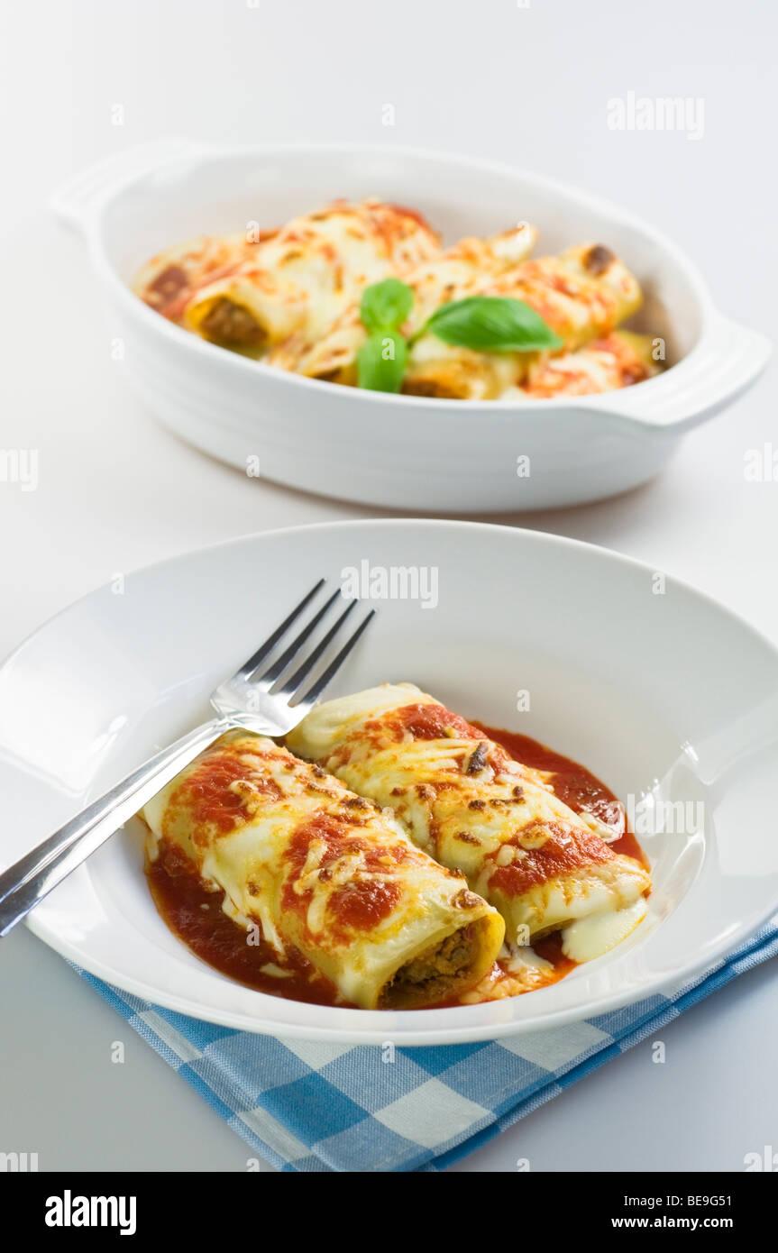 Cannelloni-italienische Küche-Italien Stockbild