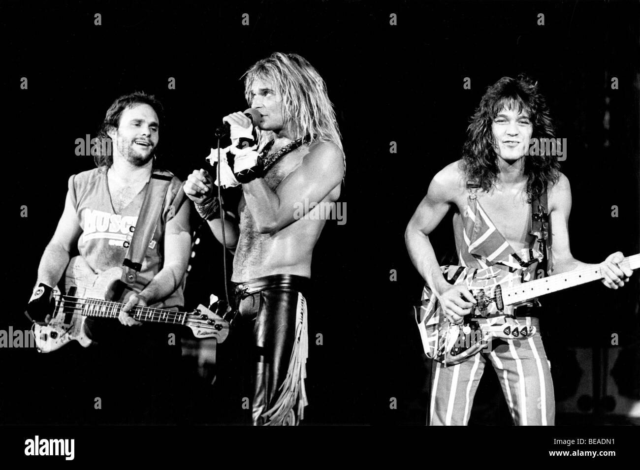 VAN HALEN - US-Rock-Gruppe über 1987 vom linken Sammy Haggar, David Lee Roth und Eddie Van Halen Stockfoto