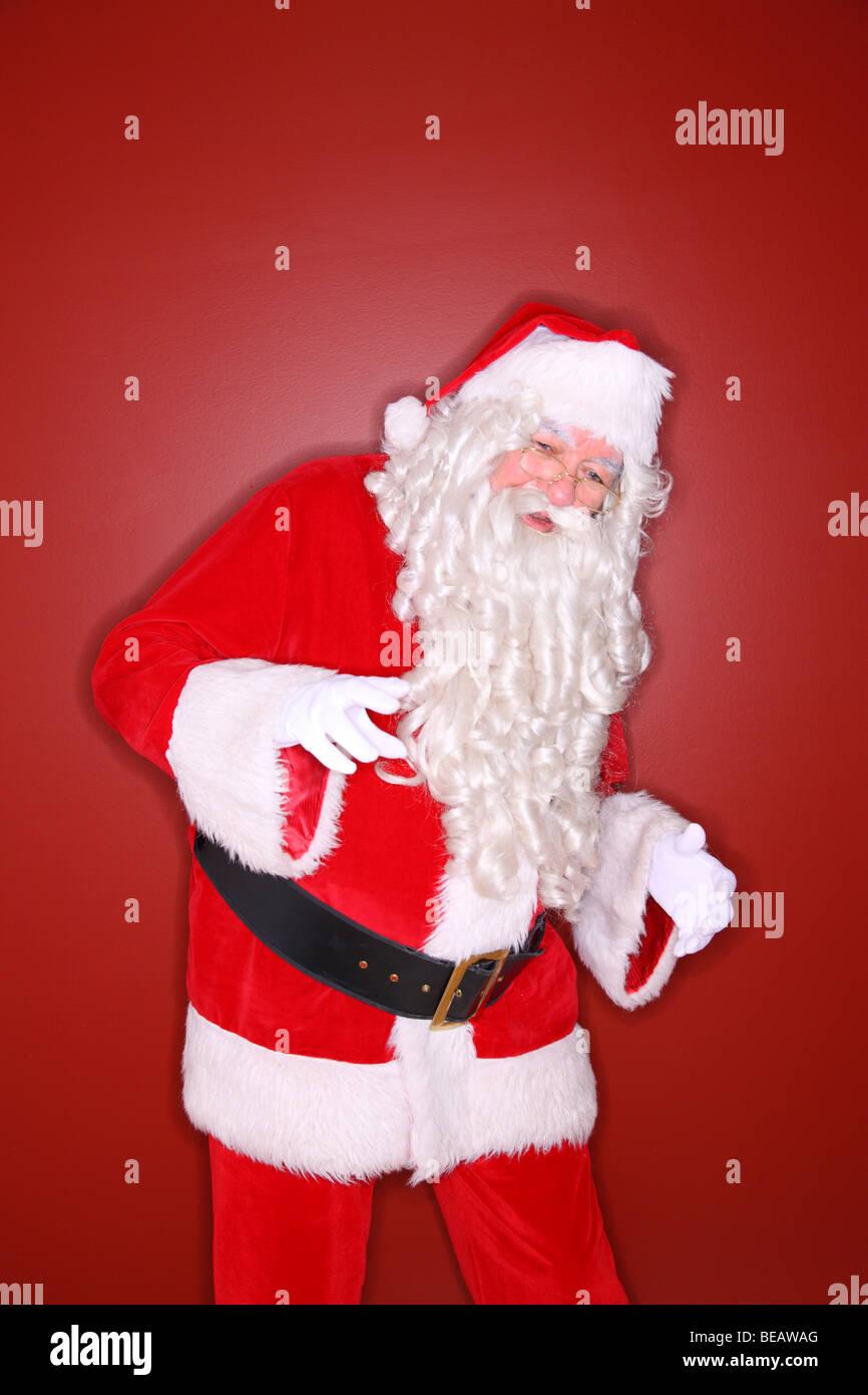 Ring-Flash-Schuss von Santa Claus tanzen Stockbild