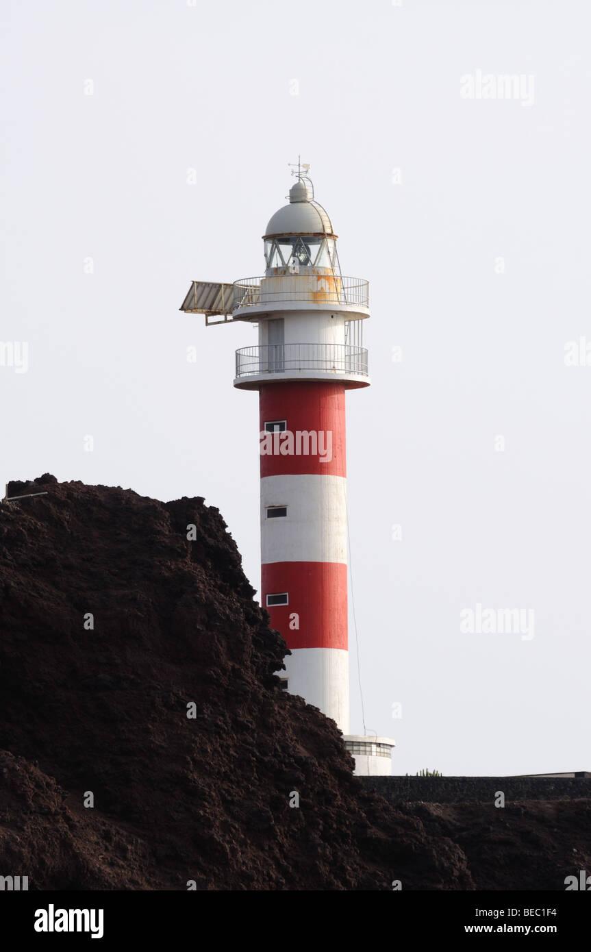 Leuchtturm am Punta de Teno, Kanarische Insel Teneriffa, Spanien Stockbild