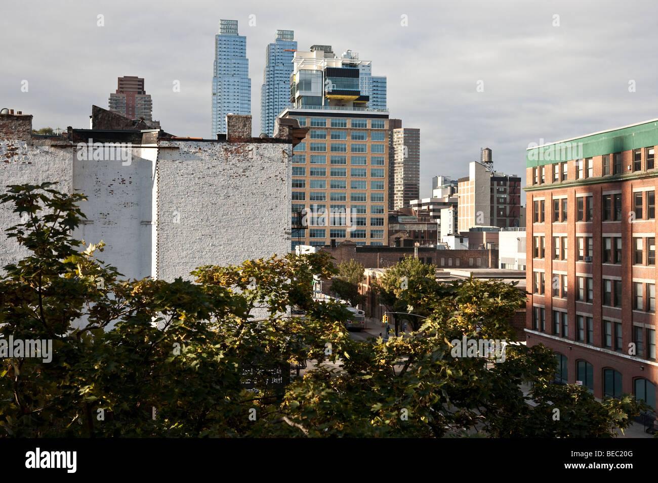 Blick nach Süden entlang der 11th Avenue Höllen Küche in New York ...
