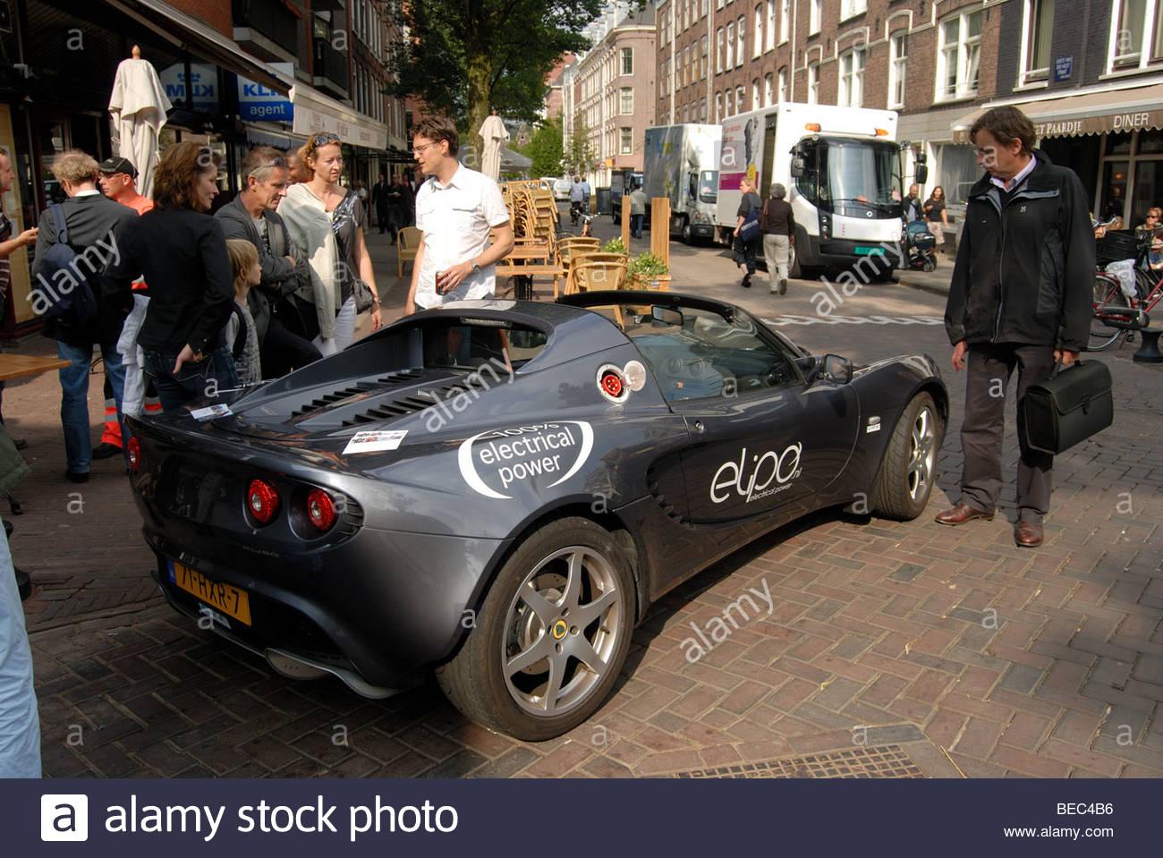 Amsterdam - angetriebene elektrisch Lotus Elise ECE Hochleistungssportwagen von Elipo elektrischer Energie. Stockbild
