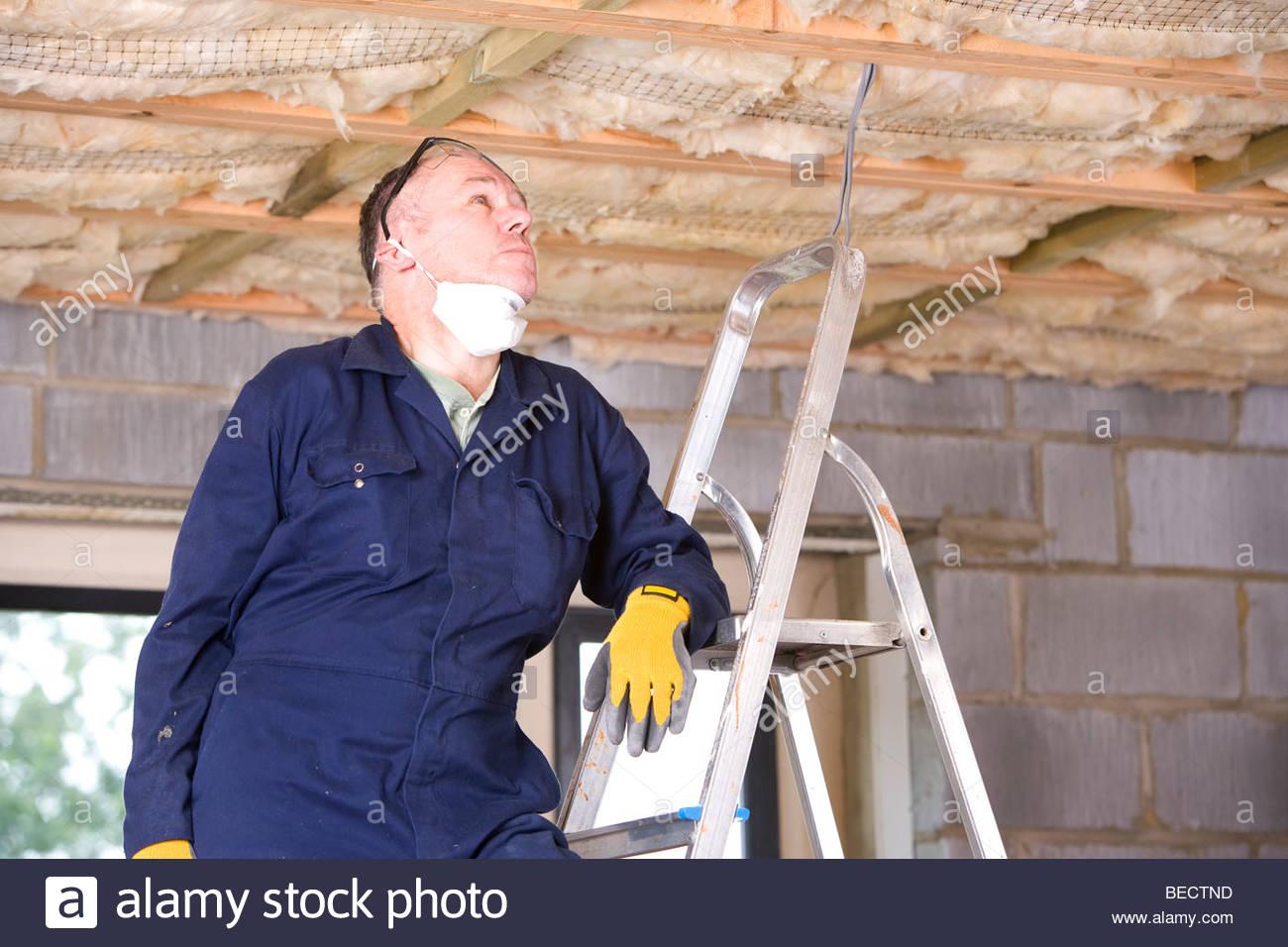 Mann In Overalls Auf Leiter Blickte Zu Decke Isolierung Stockfoto