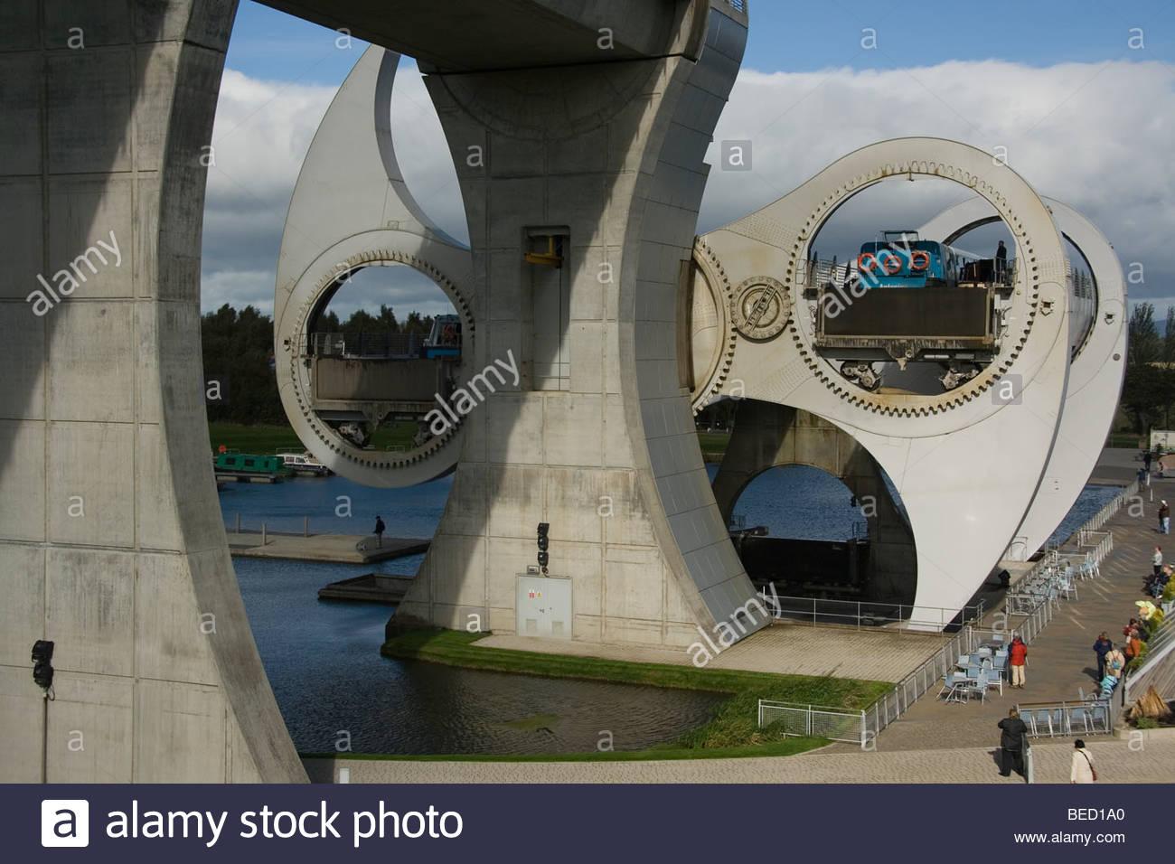 Schottland Falkirk Wheel zeigt Boote in Rotation Nahaufnahme Trossachs Stockbild