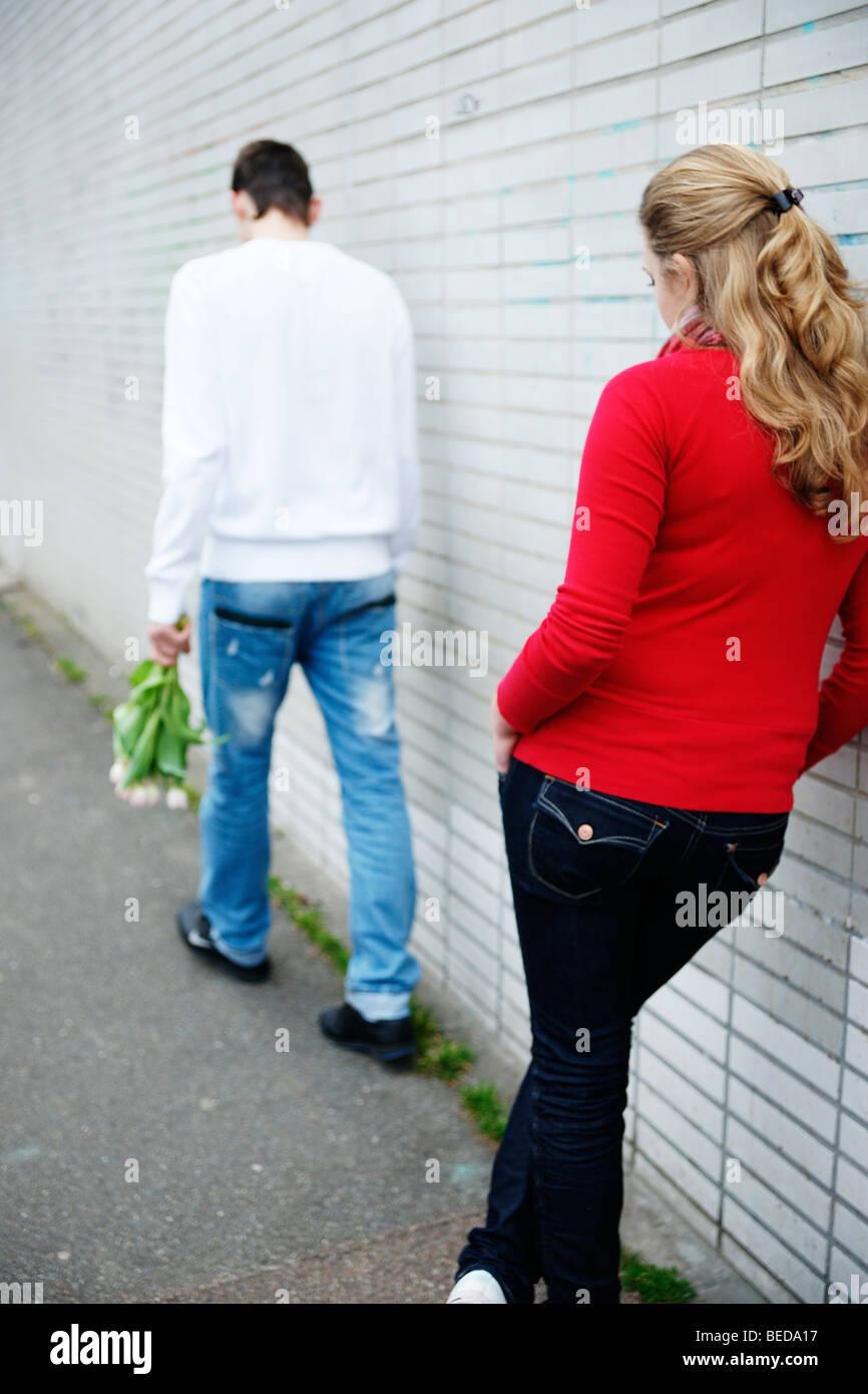 Teenager-Paar streiten Stockbild
