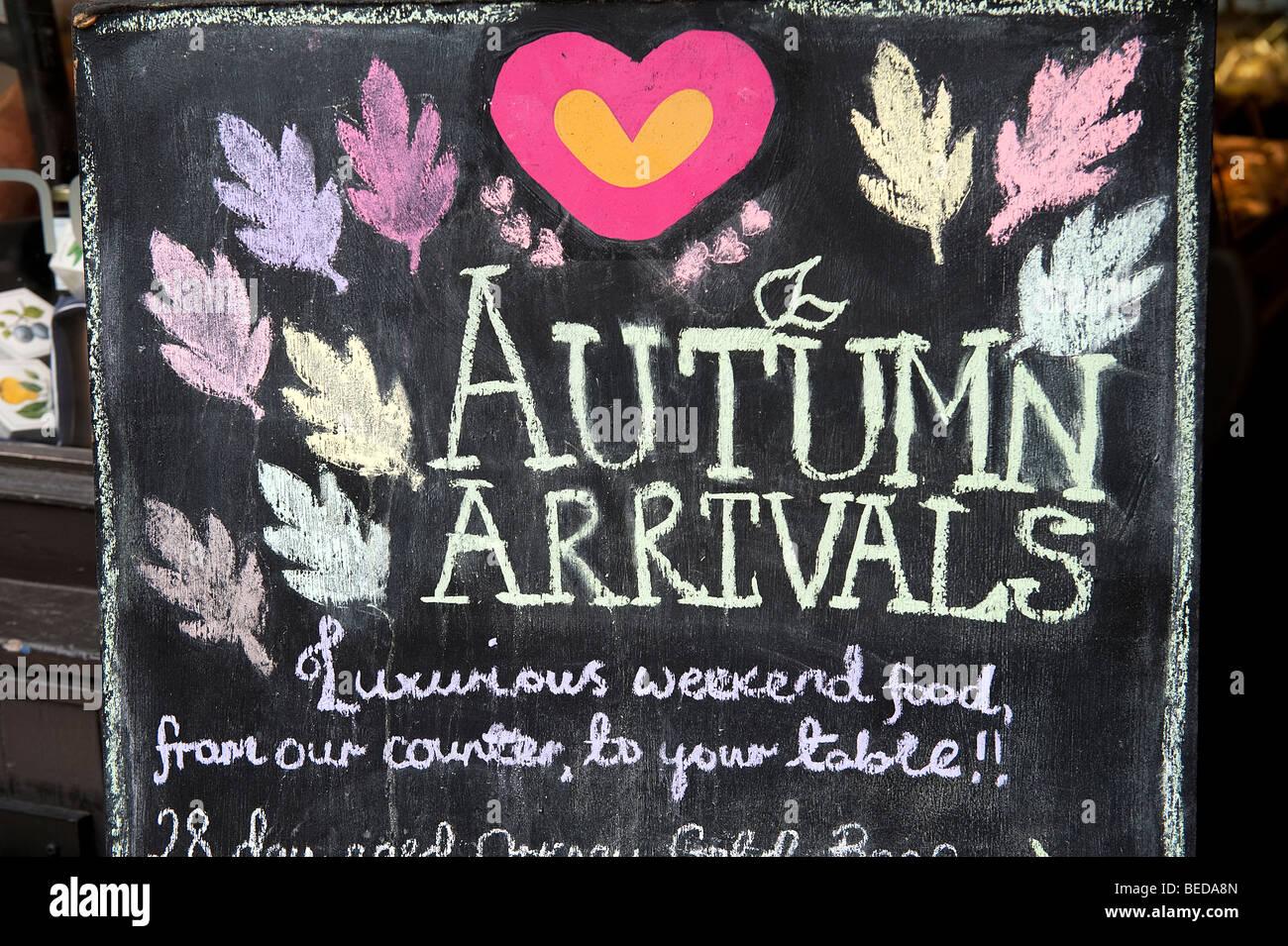 Tafel zeichen und menüs außerhalb herz buchanan feinkost und café