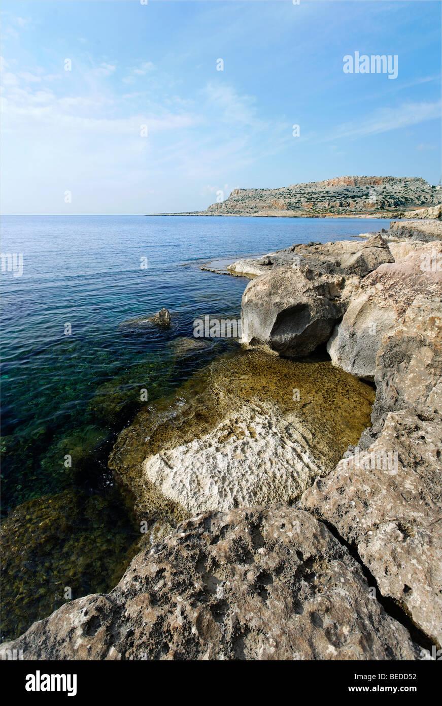 Kalkfelsen am Cape Gkreko Halbinsel, Larnaca, Zypern, Mittelmeer, Asien Stockbild