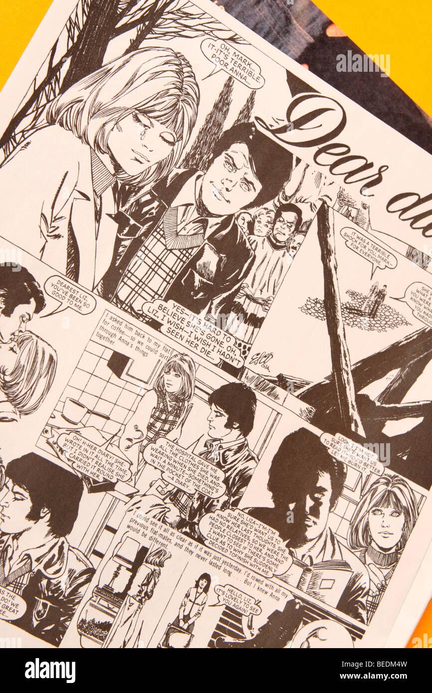 Jackie Magazin für Mädchen im Teenageralter Comic-Strip Liebesgeschichte Liebes Tagebuch genannt, im Jahr Stockbild