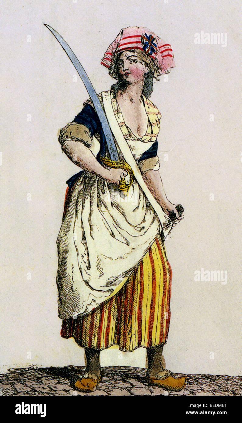 FRANZÖSISCHEN REVOLUTION zeitgenössische Illustration eines Revolutionärs Parisienne Stockbild