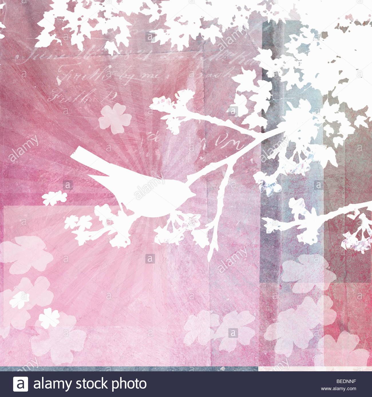 Vogel sitzt im Baum mit Frühlingsblumen Stockbild