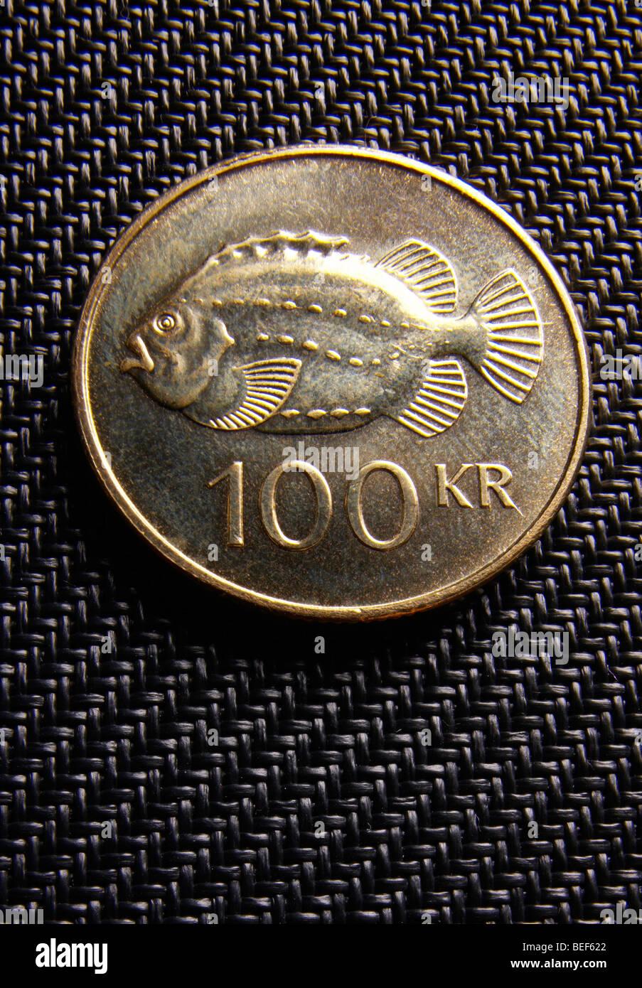 100 Wechseln Münze Isländische Geld Stockfoto Bild 26149594 Alamy